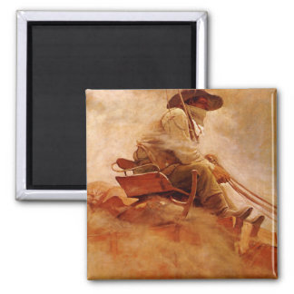 Vintage Cowboys, der Erz-Lastwagen durch NC Wyeth Quadratischer Magnet
