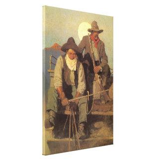 Vintage Cowboys, die Lohn-Bühne durch NC Wyeth Leinwanddruck