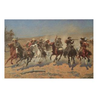 Vintage Cowboys, ein Schlag für Bauholz durch Holzdruck