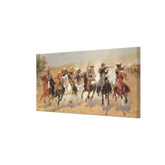 Vintage Cowboys, ein Schlag für Bauholz durch Leinwanddruck