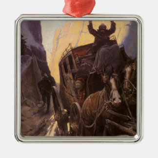 Vintage Cowboys, halten in der Schlucht durch NC Quadratisches Silberfarbenes Ornament
