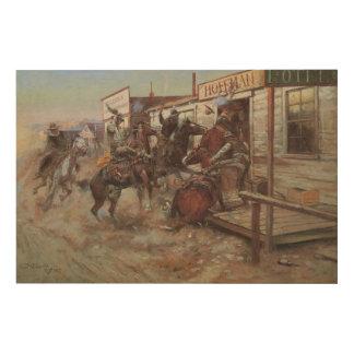 Vintage Cowboys, herein, ohne durch cm Russell zu Holzdruck