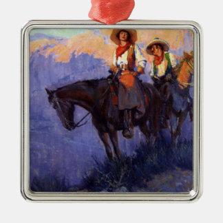 Vintage Cowboys, Mann und Frau auf Pferden, Silbernes Ornament