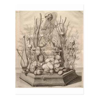 Vintage Creepy Skelette, Schädel und Bäume Postkarte