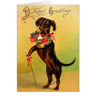Vintage Dackel-Geburtstags-Karte Grußkarte
