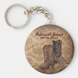 Vintage Damast Cowboystiefel-Landhochzeit Schlüsselanhänger