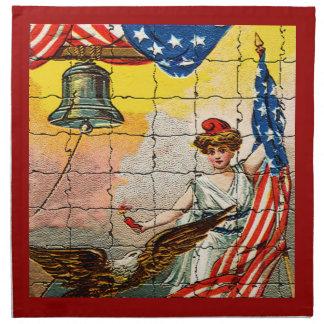 Vintage Dame, Adler, Flagge und Freiheit Bell Stoffserviette