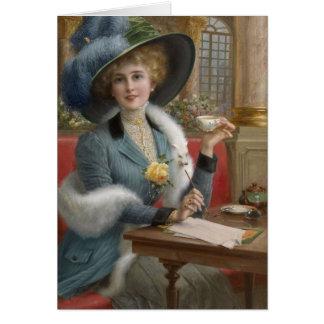 Vintage Dame an einem Schreibens-Schreibtisch, Karte