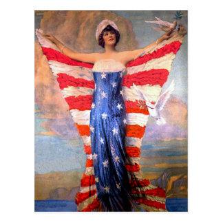 Vintage Dame der Freiheits-patriotischen Postkarte