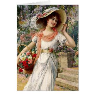Vintage Dame - ein Weg im Garten, Karte