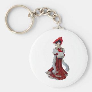 Vintage Dame im Rot Schlüsselanhänger