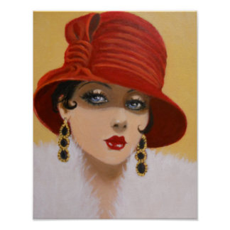 VINTAGE DAME IN A RED HAT, PLAKAT