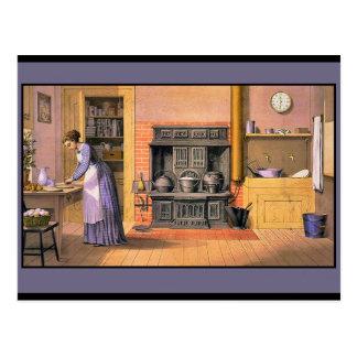 Vintage Dame in der Küche Postkarte