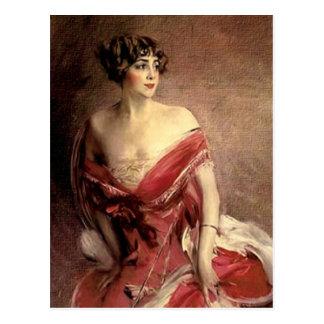 Vintage Dame Portrait - Boldini Postkarte