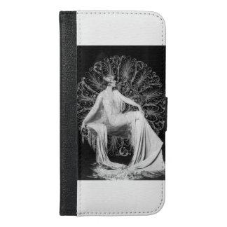 Vintage Dame Wallet Case, Grau, Foto iPhone 6/6s Plus Geldbeutel Hülle