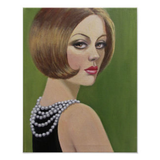 Vintage Dame With A Pearl Necklace Poster