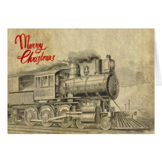 Vintage Dampf-Zugillustration Weihnachtskarte Karte