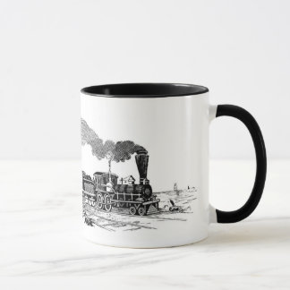 Vintage Dampfzugskizze auf Tasse