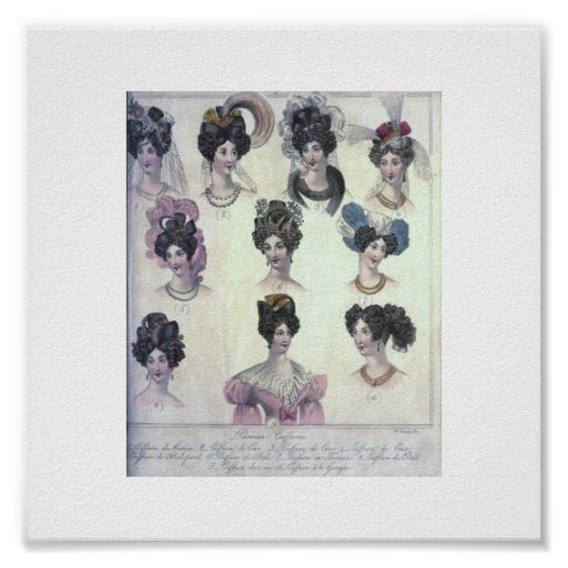 Vintage das Haar-Mode 1829 der Frauen Plakatdruck
