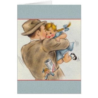 Vintage das kleine Mädchen-des Vatis der Grußkarte