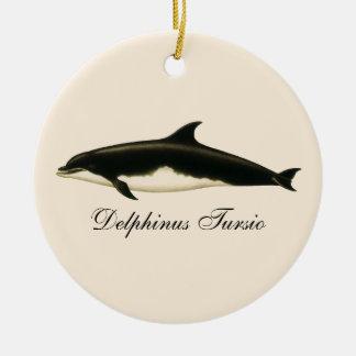 Vintage Delphine, Marinetiere und Säugetiere Keramik Ornament