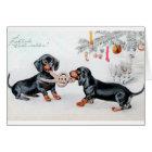 Vintage deutsche Dackel-Weihnachtskarte Karte