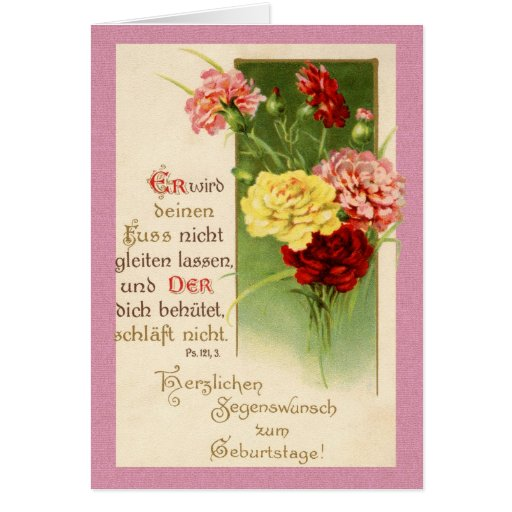 Vintage deutsche Geburtstags-Karte - Psalm-121:3 R
