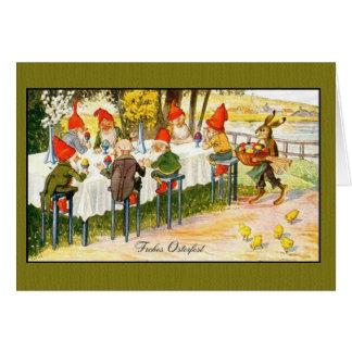 Vintage deutsche Gnome Frohes Osterfest Ostern Karte