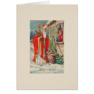 Vintage deutsche Gruß-Karte Sankt Nikolaus Karte