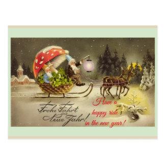 Vintage deutsche neues Jahr-Elf-Pilz-Postkarte Postkarte