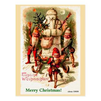 Vintage deutsche WeihnachtsGnomes und SanktSnowman Postkarte
