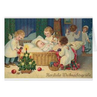Vintage Deutscher Herzliche Weihnachtsgrüße Karte