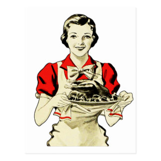 Vintage die Erntedank-Türkei-Abendessen-Hausfrau Postkarte