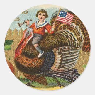 Vintage die Türkei-Erntedank-Grüße Runder Aufkleber