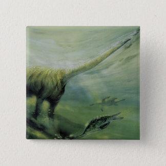 Vintage Dinosaurier, Brachiosaurus-Schwimmen im Quadratischer Button 5,1 Cm