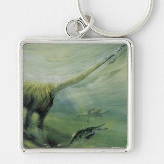 Vintage Dinosaurier, Brachiosaurus-Schwimmen im Schlüsselanhänger