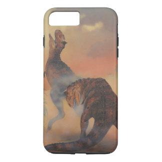 Vintage Dinosaurier, Carnotaurus, der im Dschungel iPhone 8 Plus/7 Plus Hülle