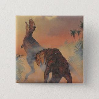 Vintage Dinosaurier, Carnotaurus, der im Dschungel Quadratischer Button 5,1 Cm