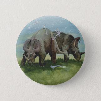 Vintage Dinosaurier, Centrosaurus, der in der Runder Button 5,7 Cm