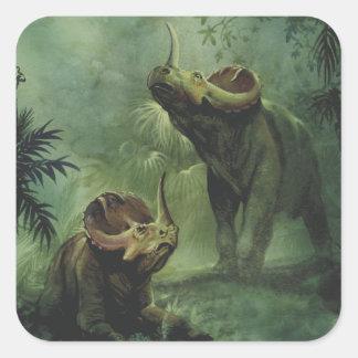 Vintage Dinosaurier, Centrosaurus im Dschungel Quadratischer Aufkleber
