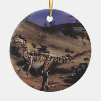 Vintage Dinosaurier, Dilophosaurus auf einer Keramik Ornament