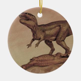 Vintage Dinosaurier, Fleisch fressendes Keramik Ornament