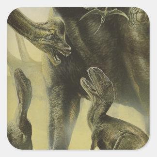 Vintage Dinosaurier, Torvosaurus und Brachiosaurus Quadratischer Aufkleber