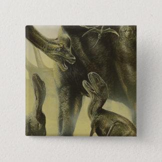 Vintage Dinosaurier, Torvosaurus und Brachiosaurus Quadratischer Button 5,1 Cm
