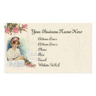 Vintage Diva-u Rosen-Geschäfts-Karte Visitenkartenvorlagen