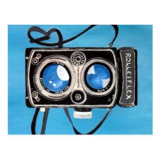 Vintage Doppellinse-Kamera Postkarte