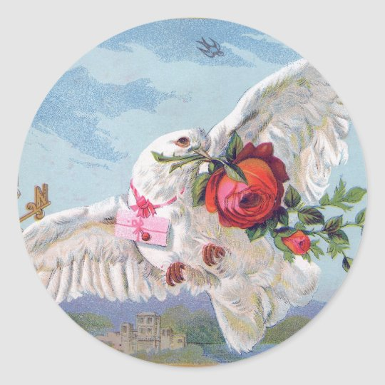 Vintage dove with flowers and a letter runder aufkleber