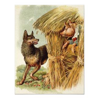 Vintage drei kleine Schweine; Großer schlechter Ankündigung