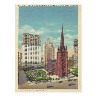 Vintage Dreiheits-Kirche New York City, New York Postkarte