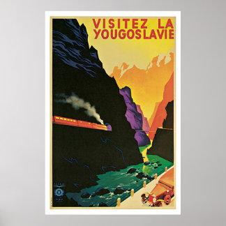 Vintage Dreißigerjahre Besuch Jugoslawien-Reiseanz Poster